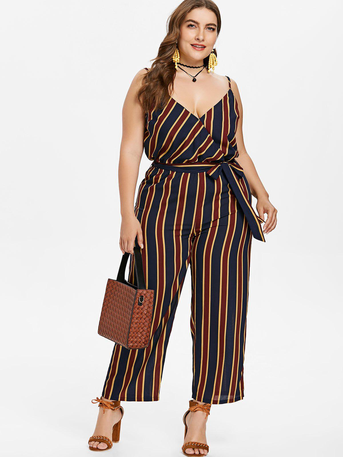 Plus Size Striped Cami Jumpsuit - DARK SLATE BLUE 2X