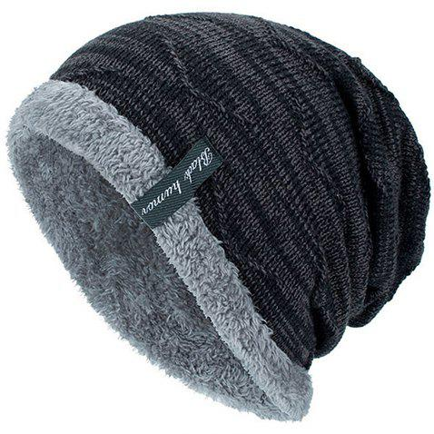 Knitted Velvet Lining Beanie Hat - BLACK