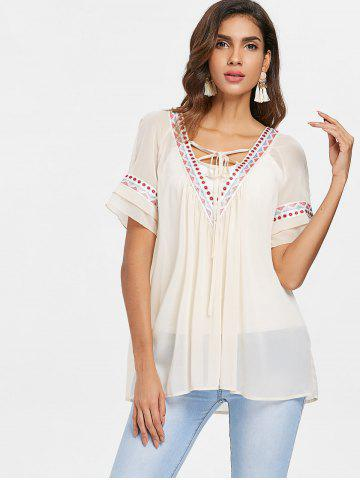Ethnic Embroidery Tunic Chiffon Blouse