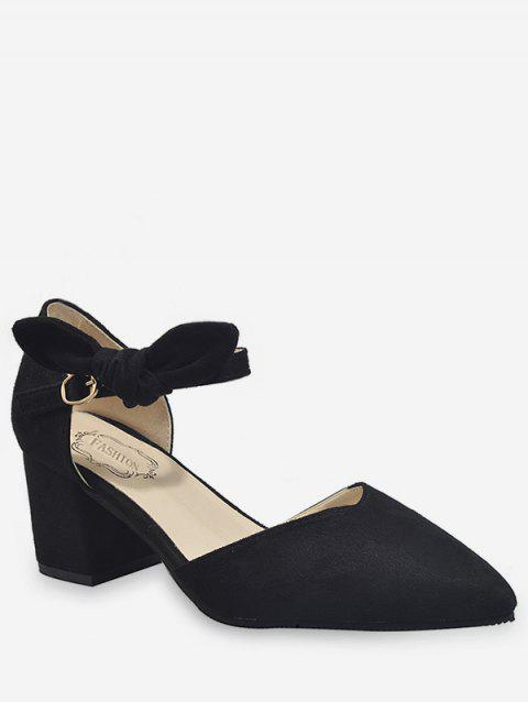 Bow Ankle Wrap Casual Pointed Toe Pumps - BLACK 35