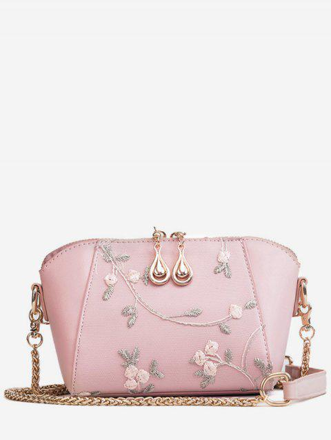 Metal Chain Floral Decorated Fairy Sling Bag - LIGHT PINK