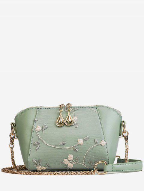 Metal Chain Floral Decorated Fairy Sling Bag - GREEN
