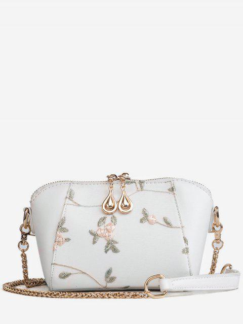 Metal Chain Floral Decorated Fairy Sling Bag - WHITE