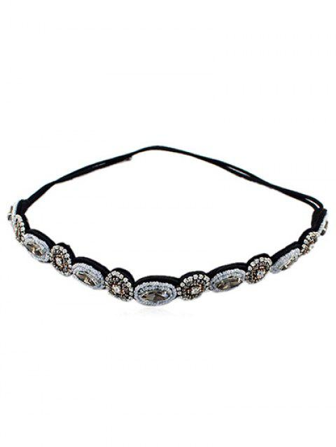 Beads Circle Rhinestone Hairband Hair Accessory - BLACK