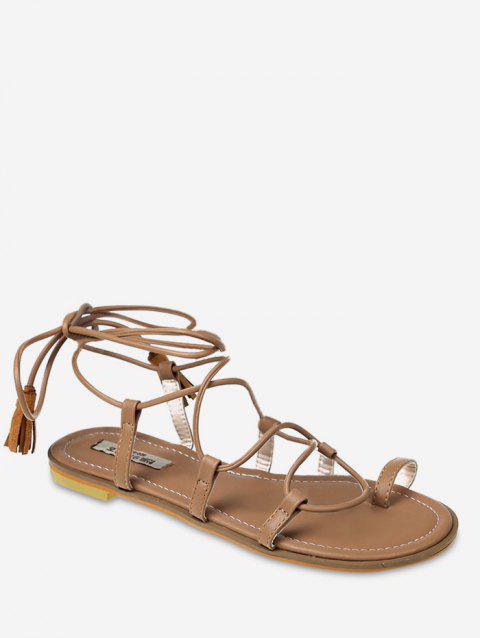 d96e0781a1ae5f 2019 Cross Strap Tassel Embellished Lace Up Thong Sandals In APRICOT ...
