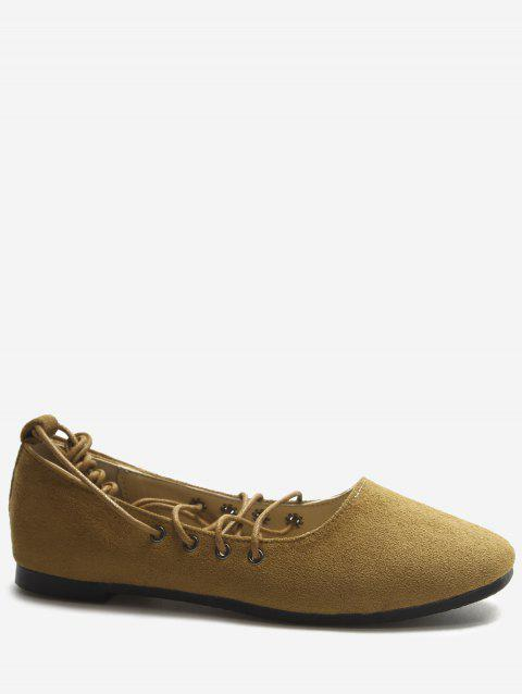 Crisscross Casual Lace Up Ballerina Flats - DARK KHAKI 38