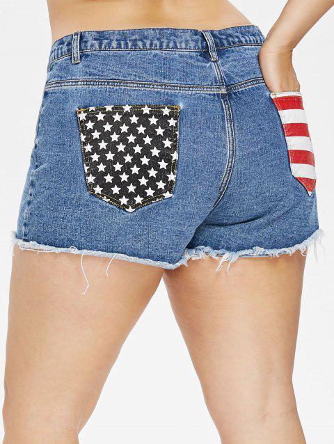 Plus Size Patriotic Jean Cutoff Shorts - JEANS BLUE L