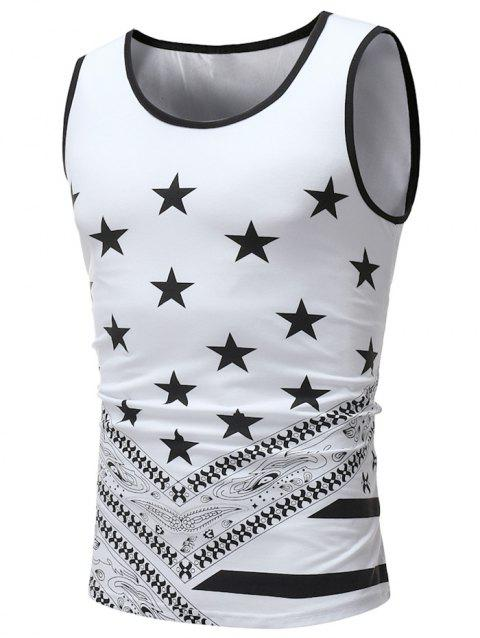 Star Print Round Neck Tank Top - WHITE L