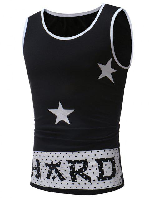 Polka Dot Letter Print Tank Top - BLACK M