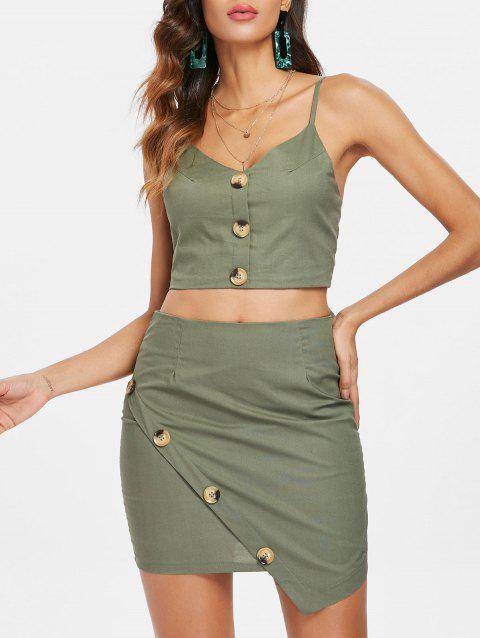 Button Insert Cami Top and Asymmetrical Mini Skirt - GREEN XL