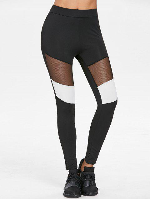 Mesh Panel Color Block Leggings - BLACK M