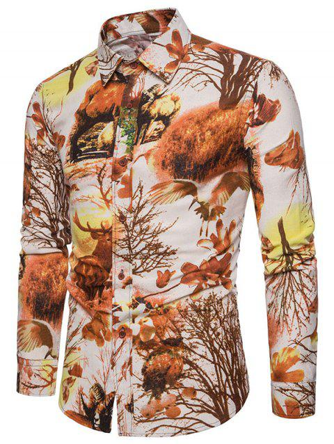 Autumn Forest Creatures Print Long Sleeve Shirt - LIGHT BROWN XS