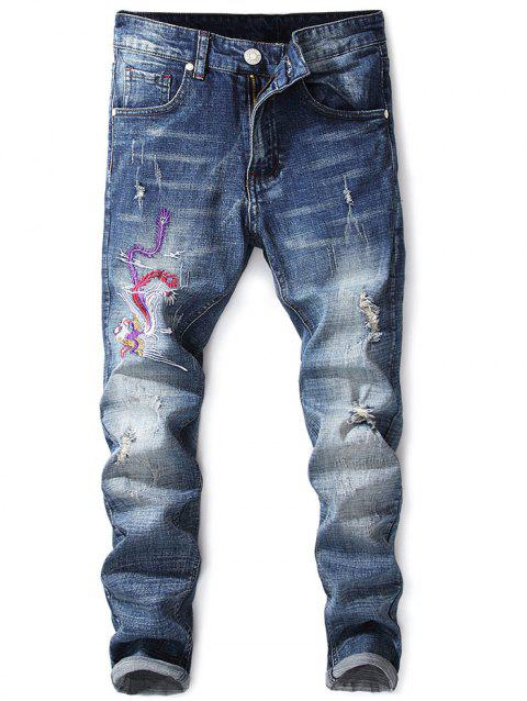 Narrow Feet Phoenix  Embroidery  Distressed Jeans - NAVY BLUE 38