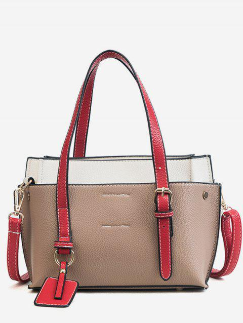 Contrasting Color Minimalist Casual Holiday Shoulder Bag - LIGHT KHAKI