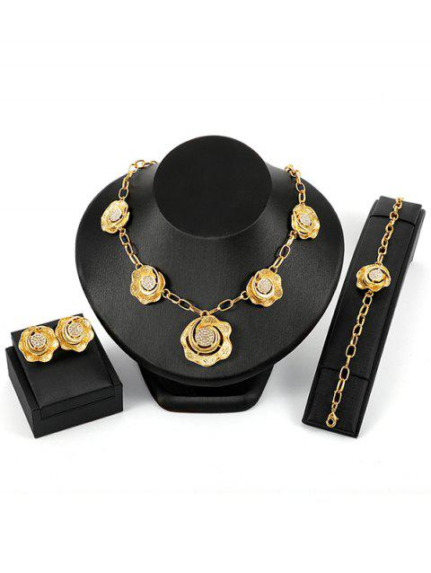 Rhinestone Inlaid Alloy Floral Wedding Jewelry Set - GOLD