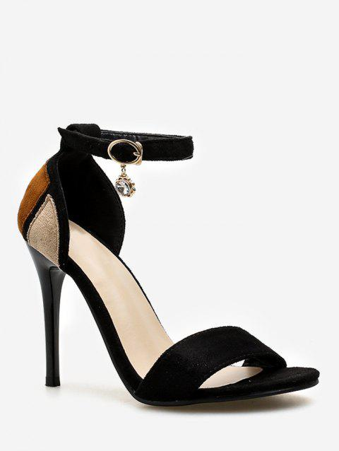 Chic Stiletto Heel One Strap Color Block Sandals for Party - BLACK 38