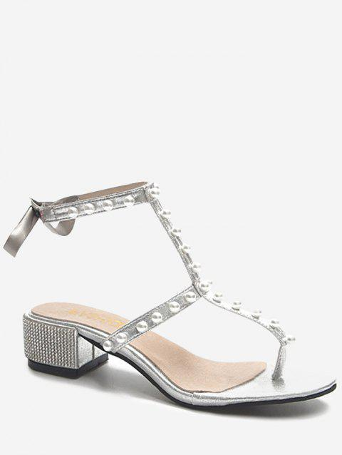 Crystals Block Heel T Strap Faux Pearl Party Thong Sandals - SILVER 35