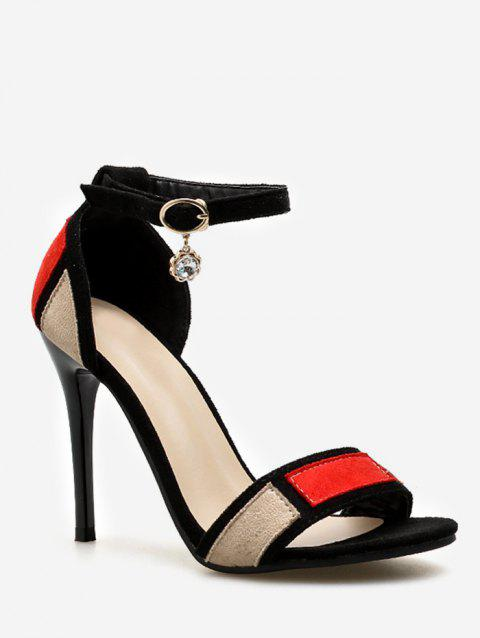 Chic Stiletto Heel One Strap Color Block Sandals for Party - CHESTNUT RED 34
