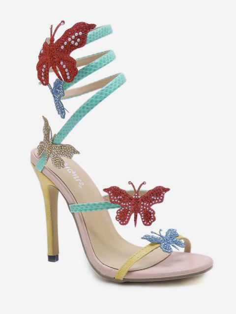 Stiletto Heel Butterfly Twist Color Block Sandals - LIGHT PINK 38
