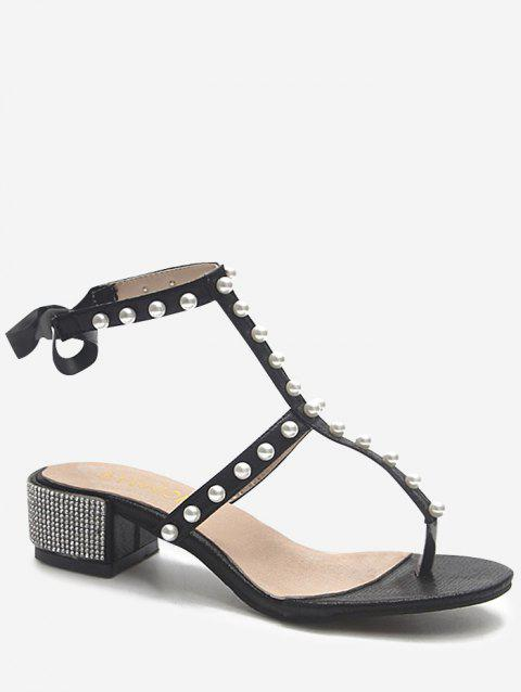 Crystals Block Heel T Strap Faux Pearl Party Thong Sandals - BLACK 36