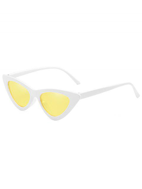 Vintage Full Frame Flat Lens Catty Sunglasses - SUN YELLOW