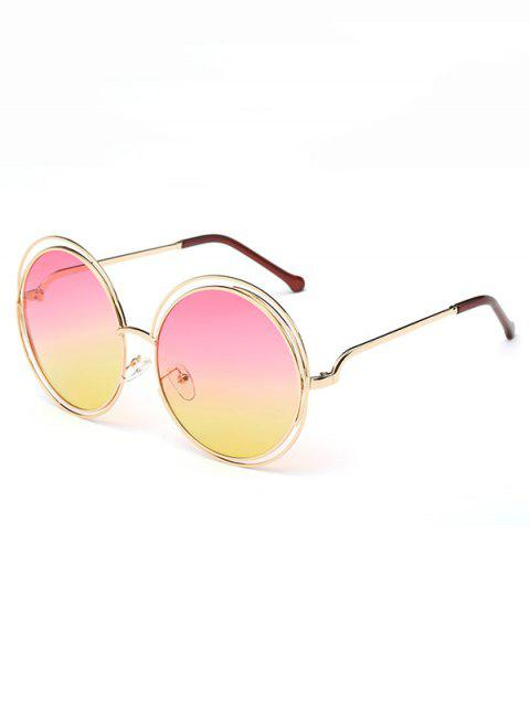 Anti UV Hollow Out Frame Circle Sunglasses - MACARONI/CHEESE