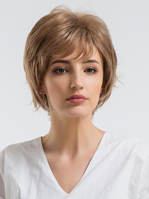 Short Side Fringe Straight Layered Human Hair Wig - CAMEL BROWN