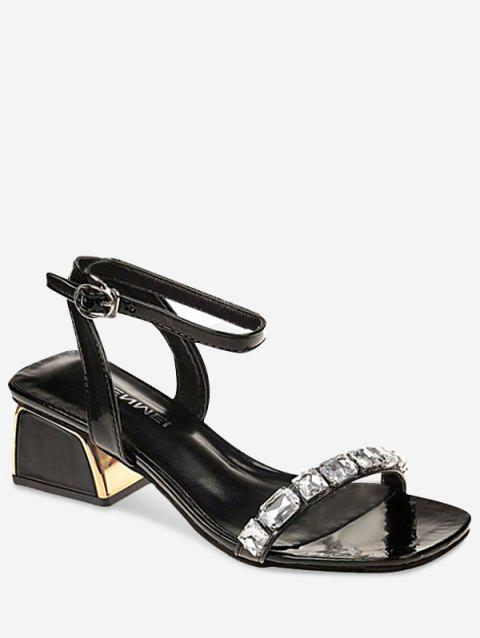 Low Heel Dazzling Rhinestone Chic Sandals - BLACK 36