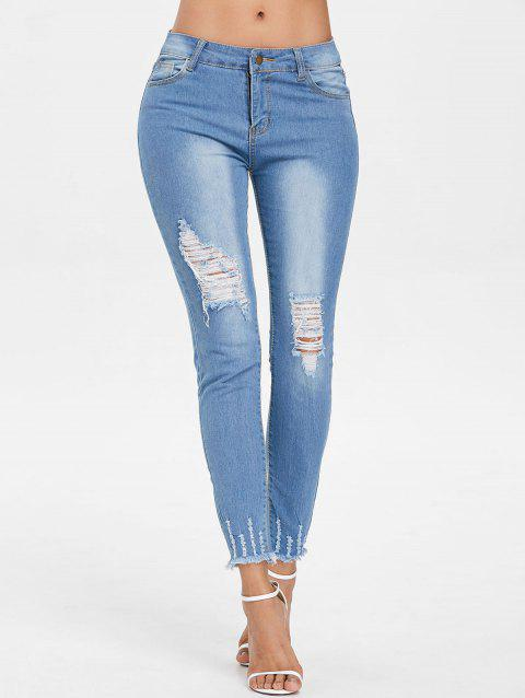 Frayed Edge Ninth Distressed Jeans - DENIM BLUE L