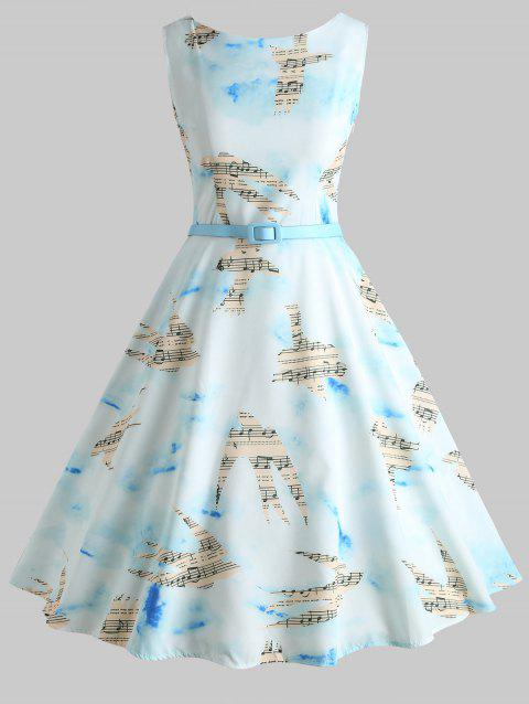 Musical Notation and Birds Printed Flared Dress - LIGHT SKY BLUE S