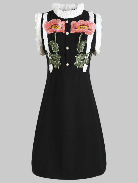 Ruffled Embroidered Mini Dress - BLACK L