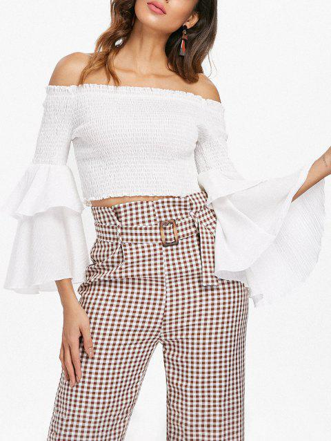 Off The Shoulder Shirred Crop Top - WHITE XL