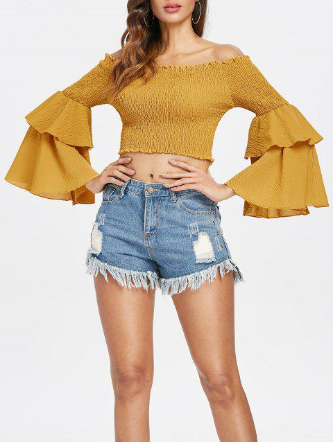 Off The Shoulder Shirred Crop Top - YELLOW M