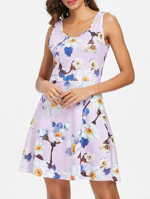 Sleeveless Floral Print Flare Dress - multicolor M
