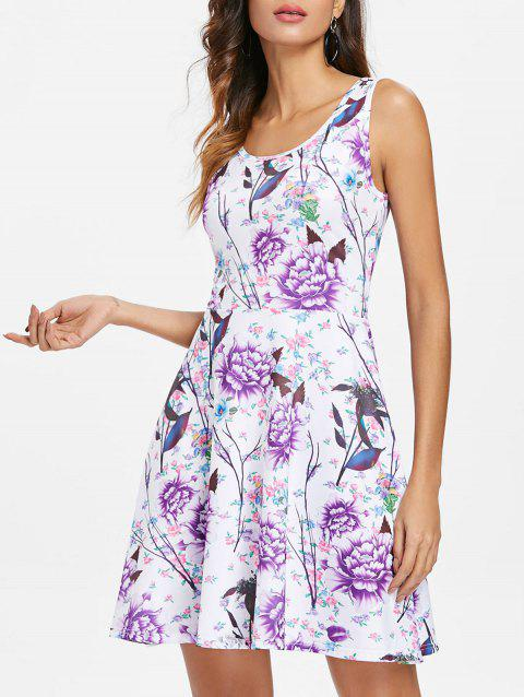 Round Neck Flowers Print Mini Dress - multicolor S