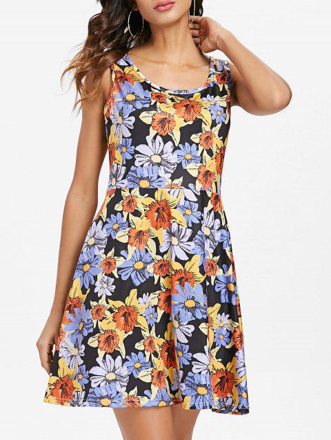 Sleeveless Floral Pattern Mini Dress - multicolor S