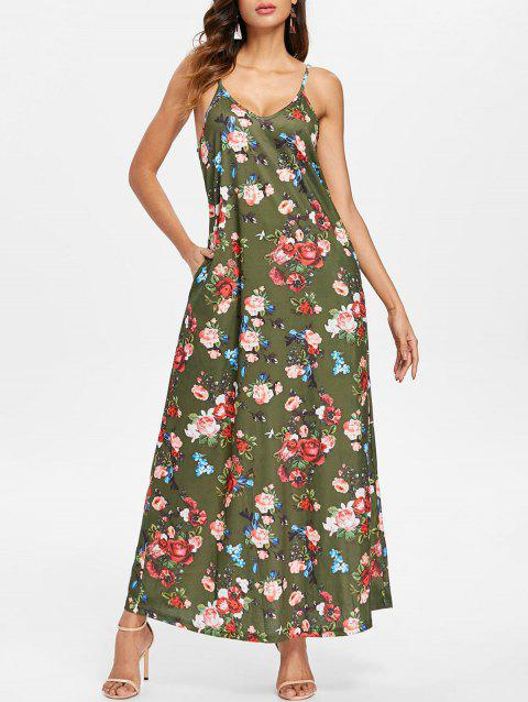 Floral Print Ankle Length Dress - CAMOUFLAGE GREEN M