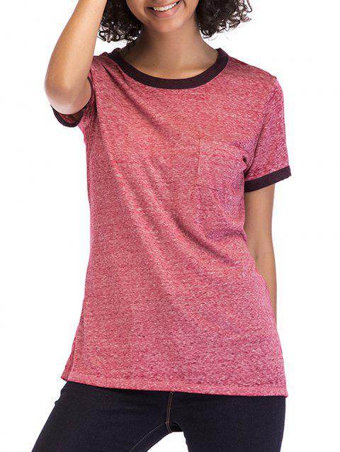 Round Neck Short Sleeve Basic Tee - BLUSH RED M