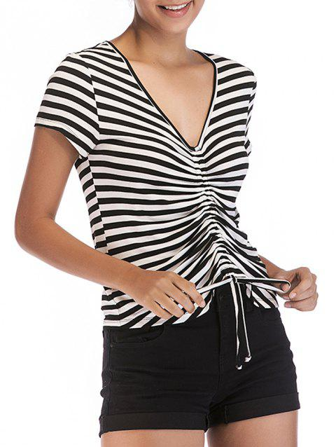 V Neck Striped Pleated T-shirt - BLACK M