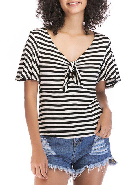 Knotted Front Striped Short Sleeve Tee - BLACK S