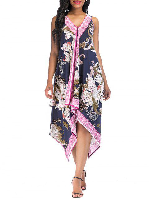 V Neck Asymmetrical Sleeveless Printed Dress - multicolor A L