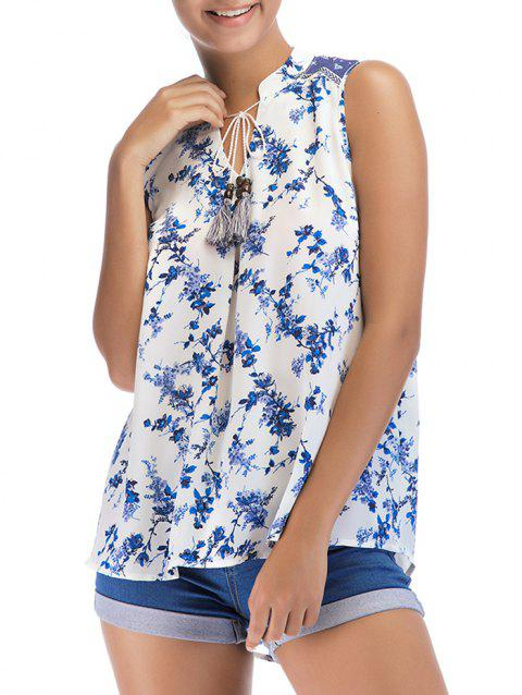 Bow Tie Collar Floral Print Sleeveless Blouse - BLUEBERRY BLUE L