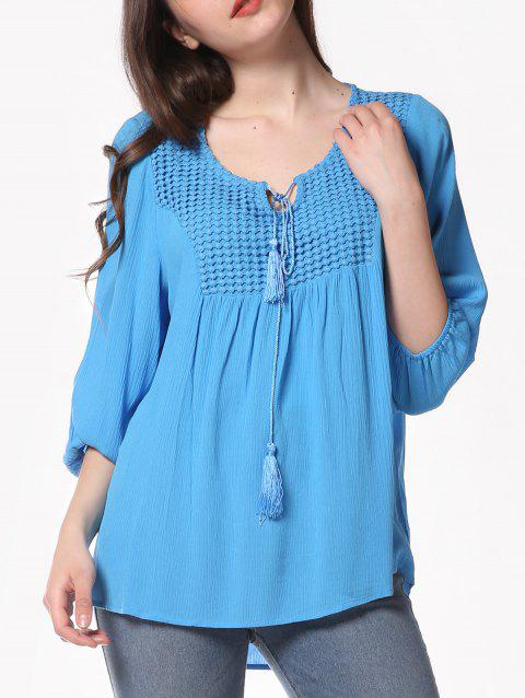 Pleated Long Sleeve Casual Blouse - BUTTERFLY BLUE XL