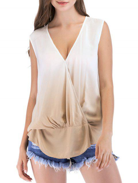 V Neck Pleated Sleeveless Casual Top - LIGHT KHAKI S