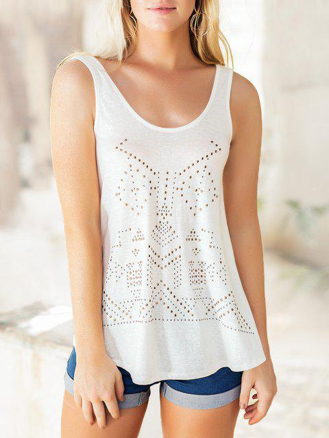 Studded Embellished Casual Sleeveless Top - MILK WHITE M