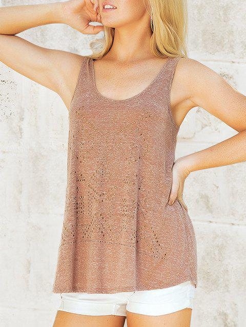 Studded Embellished Casual Sleeveless Top - LIGHT BROWN L