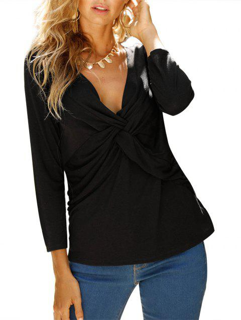 V Neck knotted Front Long Sleeve Casual Top - NIGHT M