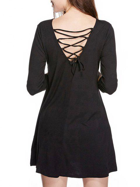 Long Sleeve Back Lace Up Mini Dress - BLACK M