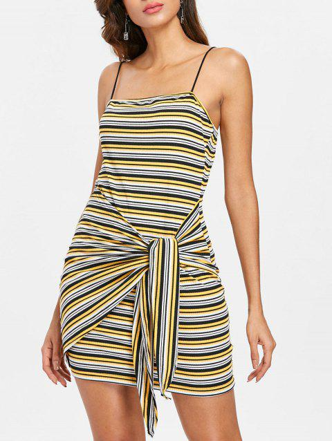 Spaghetti Strap Striped Bodycon Dress - YELLOW M