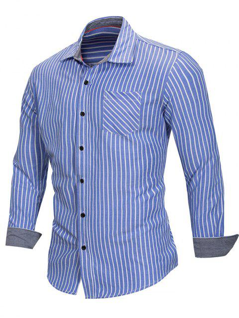 Vertical Stripe Long Sleeve Shirt - BLUE XL